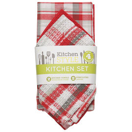 Kitchen Style Kitchen Set - Red - 4 piece