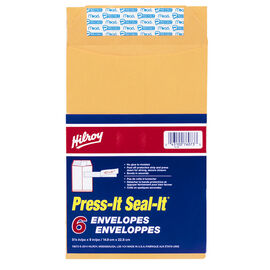 Hilroy Press-It Seal-It Self Adhesive Envelope - 6 x 9 Inches - 6 Pack