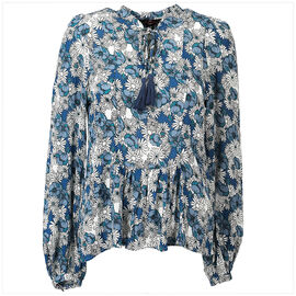 Lava Long Sleeve Peasant Blouse - Blue - Assorted