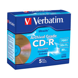 Verbatim Archival Grade Gold CD-R 80min 700MB 52X - 5 pack - 96319