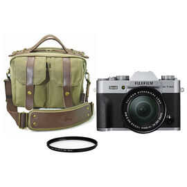 Fujifilm X-T20 Silver with 16-50mm XC Lens with Roots 73 Classic Messenger Bag and Techpro SD 58mm Polarizer Filter - PKG #16380