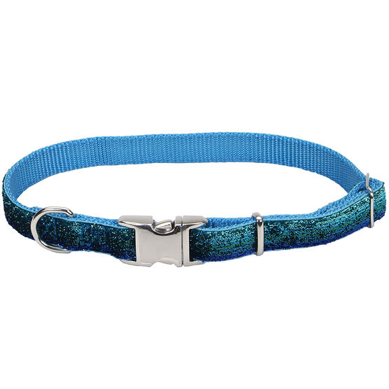 Pet Attire Sparkles Collar - Blue/Green - 12 - 18inch