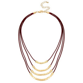 Haskell Three Row Necklace - Berry/Gold