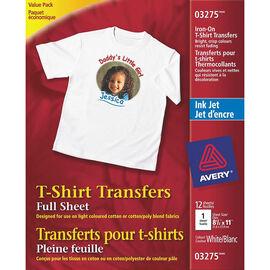 Avery T-Shirt Transfers - White - 12's - 3275