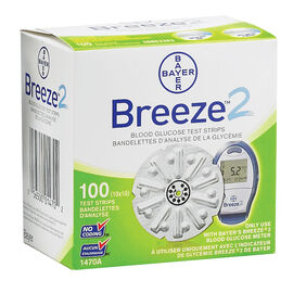 Bayer Ascensia Breeze 2 Blood Glucose Test Strips - 100's