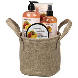BodyCaress Fruits Bath Gift Set with a Canvas Bag - Mandarin Mango - 4 piece