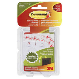 Command™ Sawtooth Picture Hanging Hooks - White - 3's