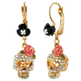 Betsey Johnson Skull Crystal Earrings - Crystal & Pink