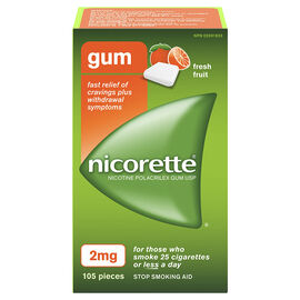 Nicorette Coated Gum with Whitening - Fresh Fruit - 2mg - 105's