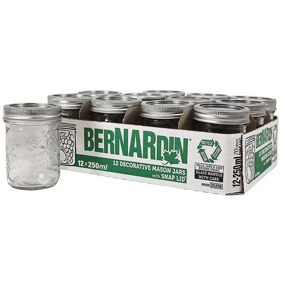 Bernardin Decorated Mason Jar - 250ml - 12 pack
