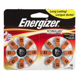 Energizer Lock & Turn Hearing Aid Batteries - AZ13DP-16 - 16 pack