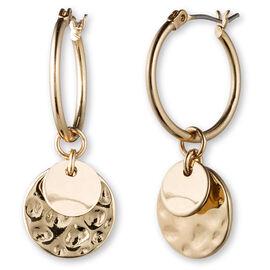 Lonna Lilly Pendant Hoop Drop Earrings - Gold