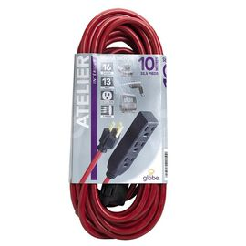 Globe 3 Outlet Extension Cord - 10M - Red