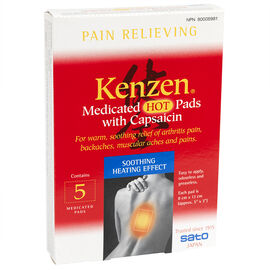 Kenzen Medicated Hot Pads with Capsaicin - 5's