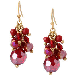 Haskell Cluster Drop Earrings - Berry/Gold