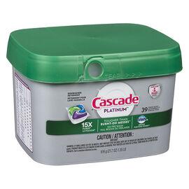 Cascade Platinum Action Pacs Dishwasher Detergent - Fresh Scent - 39's