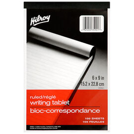 Hilroy Note Pad - Ruled - 6 x 9 inch/100 sheet