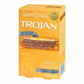 TROJAN® Ultra Ribbed NAKED SENSATIONS® Lubricated Condoms - 10's