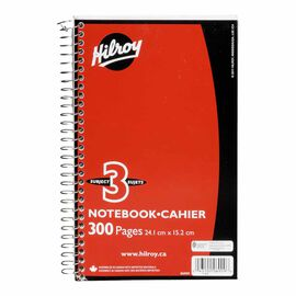 Hilroy Three Subject Notebook - 300 pages - Assorted Colours
