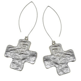 Canvas Hammered Square Cross Earrings - Silver