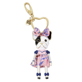 Betsey Johnson Pink Puppy Keychain - Pink/Gold