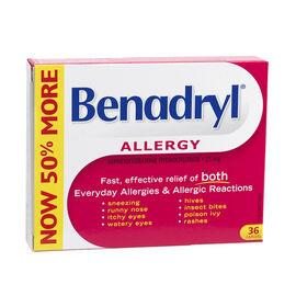 Benadryl Allergy Caplets - 25mg - 36's