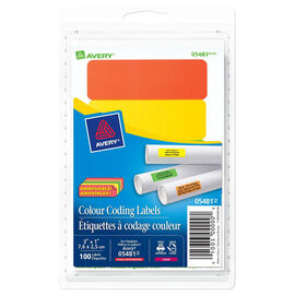 Avery Colour Coding Labels - 3 x 1 Inches - Assorted Neon - 100