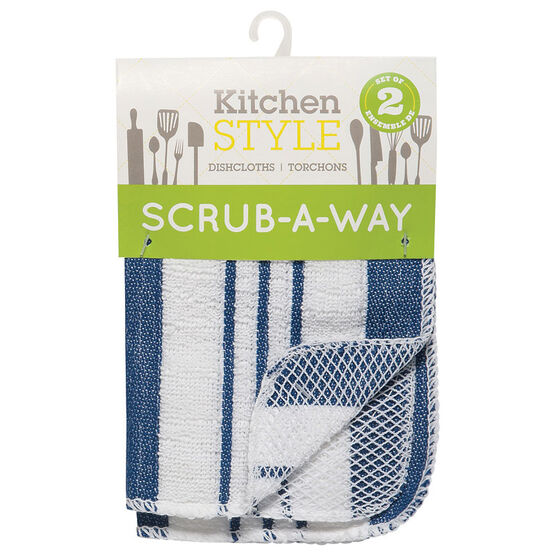 Kitchen Style Scrub-A-Way Dishcloths - Blue - 2 pack