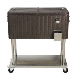 London Drugs Plastic Rattan Cooler Cart - 80qt - DA72423
