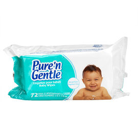 Pure 'N Gentle Baby Wipes Refills - Unscented - 72's