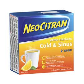 NeoCitran Extra Strength Cold & Sinus Night - Lemon - 10's