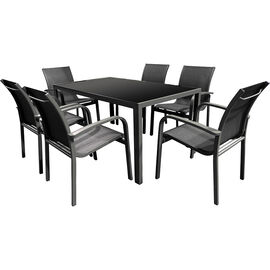 Baja Aluminum/Textaline Dining Set - Black - 7 piece