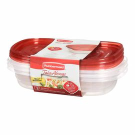 Rubbermaid TakeAlongs Rectangle Containers - Assorted - 3 x 887ml