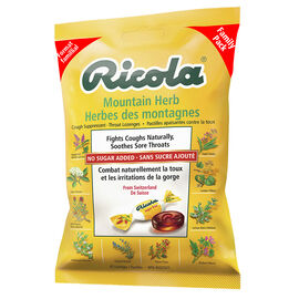 Ricola Cough Suppressant Throat Lozenges - Mountain Herb No Sugar Added - 45's
