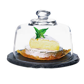 Anchor Hocking Round Platter with Glass Dome Lid - Slate - Small