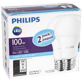 Philips A19 Replacement Bulb - Daylight - 100W/2 pack