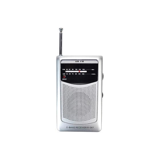 HRS AM/FM Pocket Radio - Silver - R367