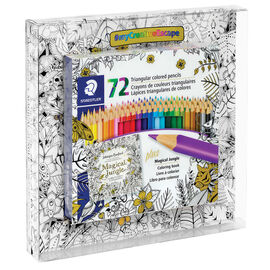 Staedtler Triangular Coloured Pencils with Colouring Book - 72's