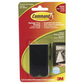 Command Picture Hanging Strips - Med/Black - 17201BLK-C