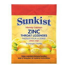 Sunkist Zinc Throat Lozenge - Honey Lemon - 16's