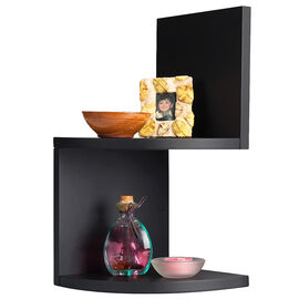 Priva Corner Shelves - Black - 2 pack