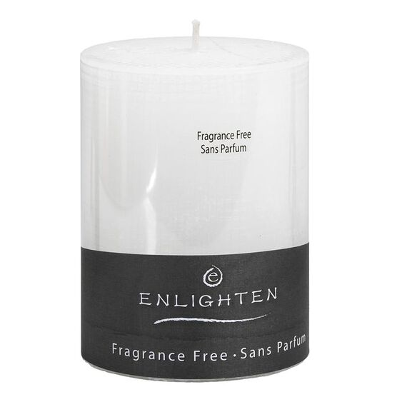 Enlighten Linen Unscented Pillar Candle - White - 3 x 4inch