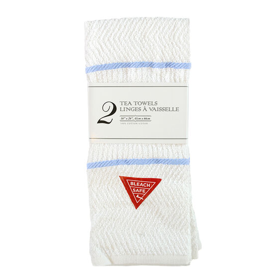 Terry Kitchen Towel - White/Blue - 2 pack