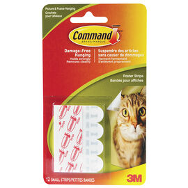 Command™ Small Poster Strips - White - 12's