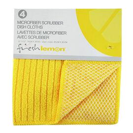Fresh Lemon Microfibre Scrubber Dish Cloth - Yellow - 4 pack