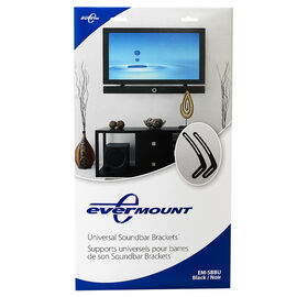 Evermount Universal Soundbar Bracket - Black - EM-SBBU