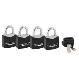Master Lock Covered Brass Steel Shackle Padlocks - 4 Pack