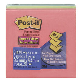 3M Post-it Pop-up Super Sticky Notes - 3 pads per pack