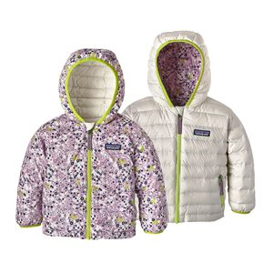 Baby Reversible Down Sweater Hoody, Flurry Floral: Dragon Purple (FFDG)
